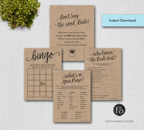 Printable Kraft Bridal Shower Games Package, Script letterin