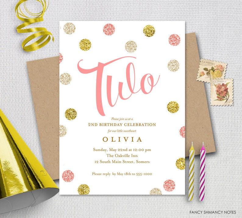 Pink And Gold 2nd Birthday Invitation Glitter TWO