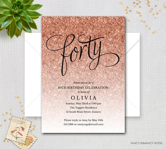 Rose Gold Sparkle Glitter Printable 40th Birthday Invitation Forty Faux Digital Item 1435