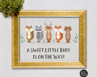 Woodland Animals Baby Shower Sign, Gender Neutral Sweet Little Baby on the Way,  Instant Download Digital file, 1228