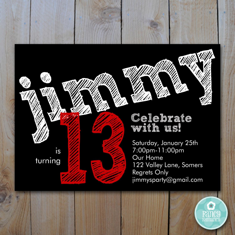 Teen Boy\'s Birthday Invitation / Red / Chalk lettering /   Etsy