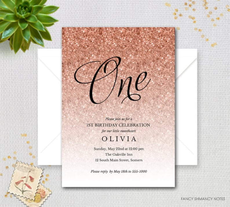 Rose Gold Sparkle Glitter Printable First Birthday Invitation