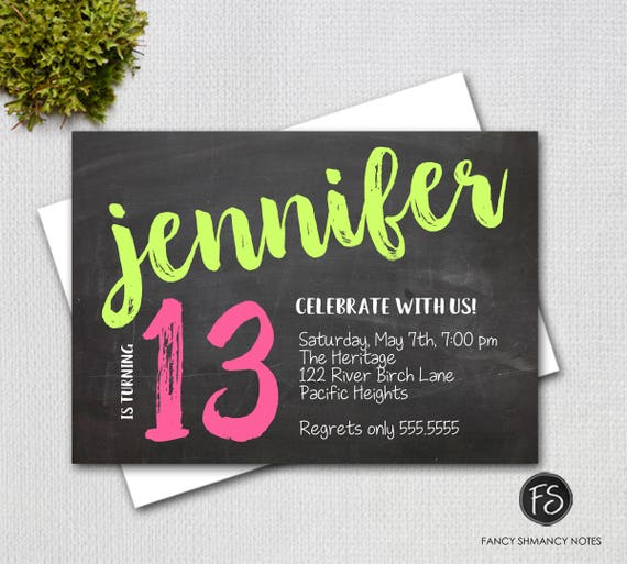 photograph regarding Printable Chalkboard Letters named Teenager Woman Invitation, Chalkboard Lettering, Red and Eco-friendly