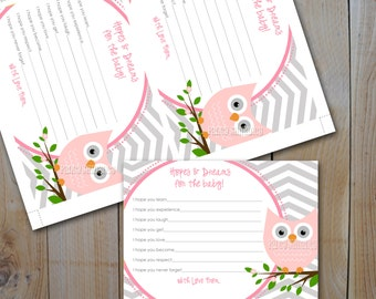 Owl  Baby Shower Hopes and Dreams / Pink Owl, Grey Chevron / Instant Download / PRINTABLE /  7850