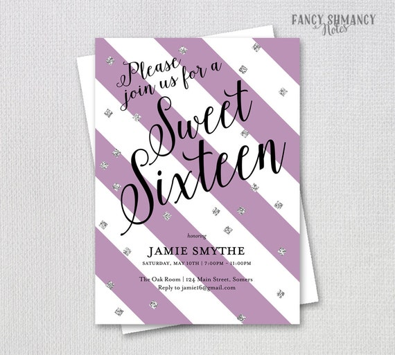 Sweet 16 Invitation Purple And Silver Glitter Customize Your