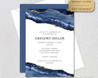 Blue and Gold Agate Editable Birthday Invitation, Any Age, Blue and Gold,  Print/Text Digital Invitation, Instant Download, jpeg/pdf, #137