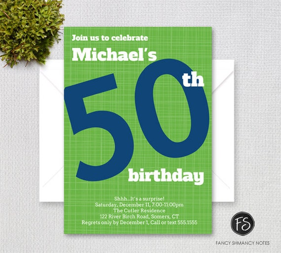 men s 50th birthday invitation bold number navy blue and green