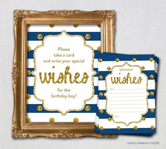 Navy And Gold First Birthday Wish Card And Display Sign Instant