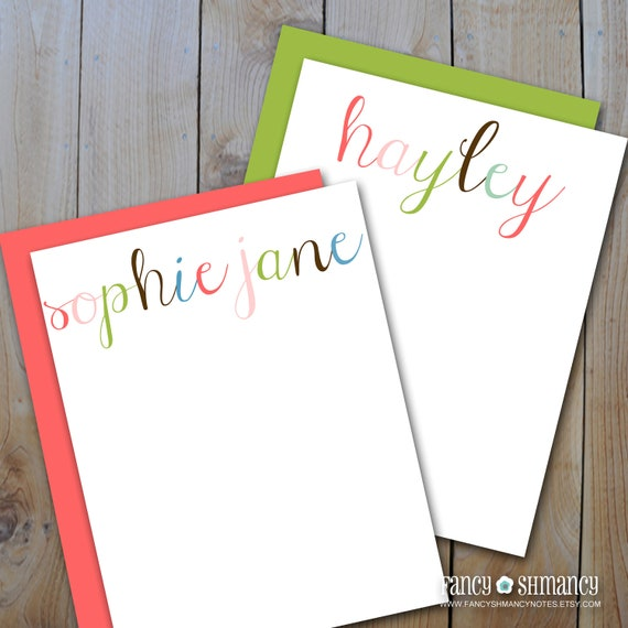 printable personalized notecards personalized rainbow flat note