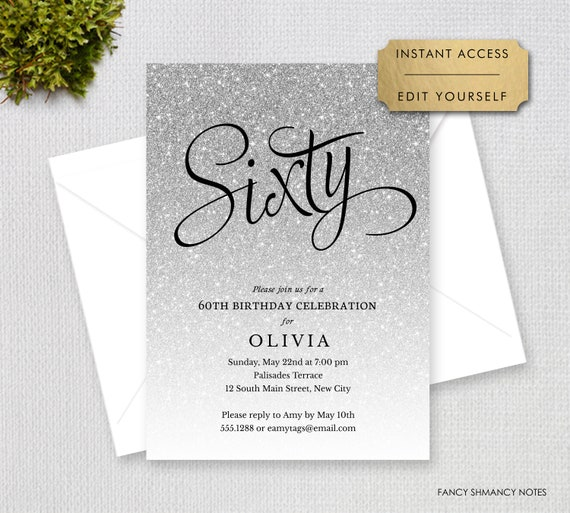 Silver Glitter Sixty Editable Birthday Party Invitation