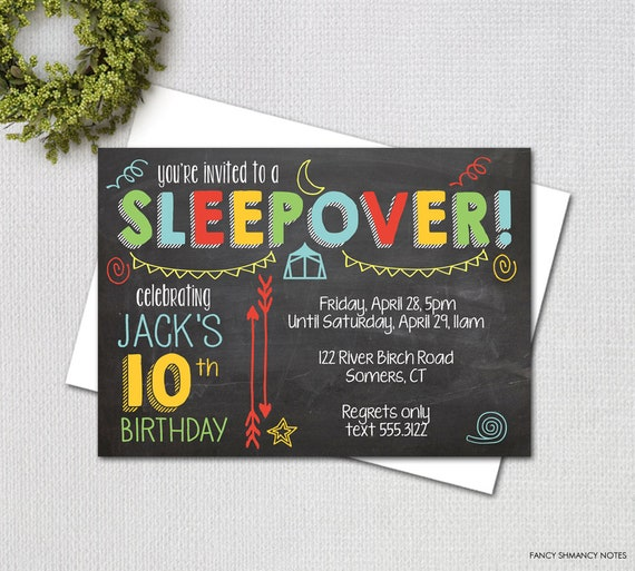 Chalkboard Birthday Party Invitation Sleepover Bright Colors PRINTABLE INVITATION Item 1013