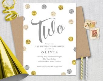 Birthday Invitation / 2nd /Silver Gold Cream Glitter / TWO / PRINTABLE INVITATION /  #182