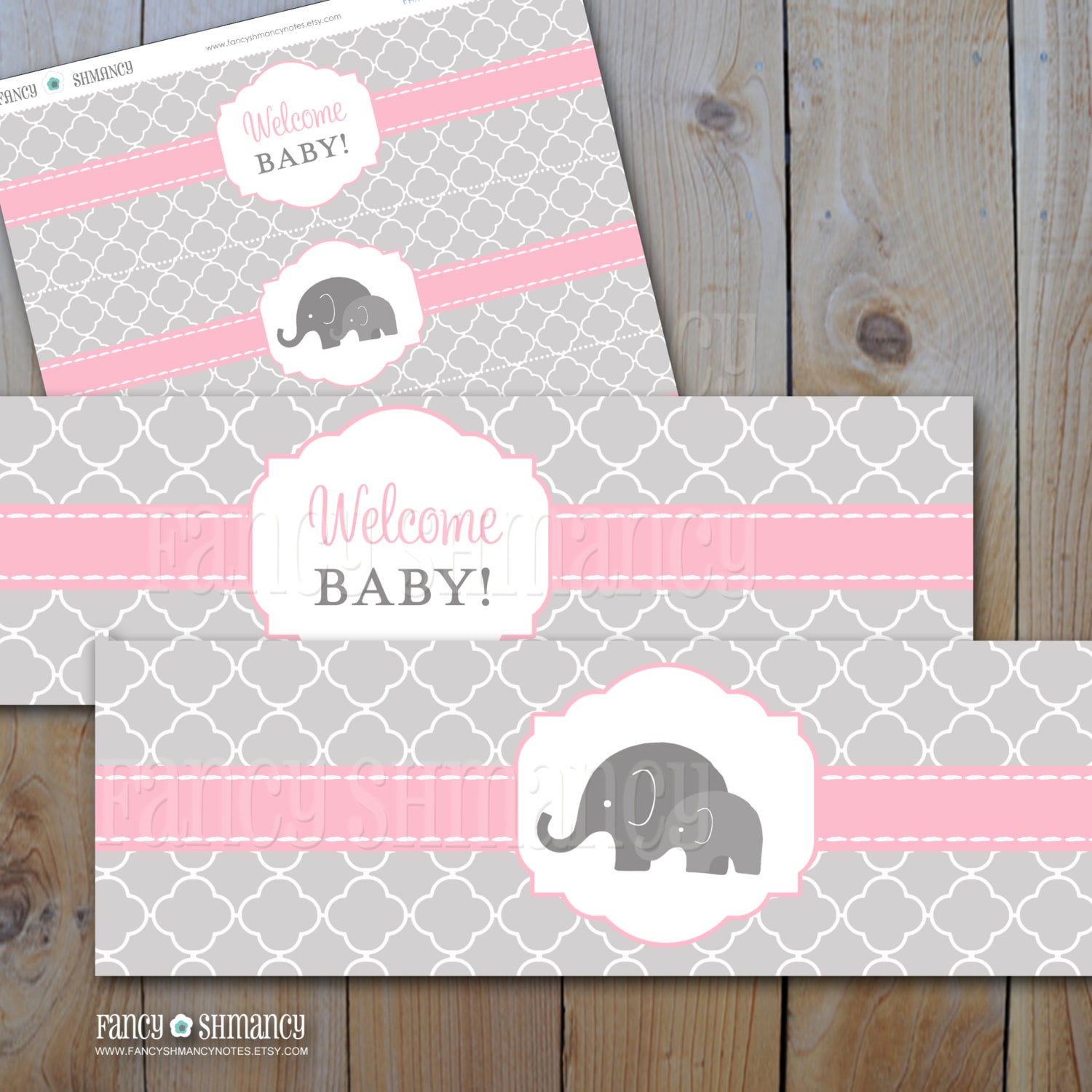 Elephant Baby Shower Water Bottle Labels Pink And Grey Etsy