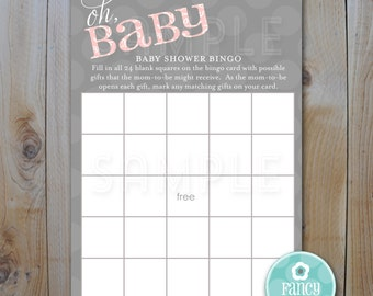Baby Shower Bingo Game Card / Oh Baby Pink Theme / Instant Download / PRINTABLE / 13004
