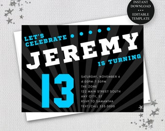 """13th Birhtday, Any Age, Sporty Letters Editable InvitationTemplate-4x6""""/5x7""""-Custom Colors, Digital Invitation, Instant Download #1999"""