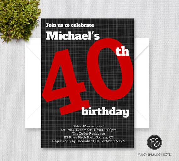 Mens 40th Birthday Invitation Bold Number Black And Red Forty Party Printable Digital File 4010