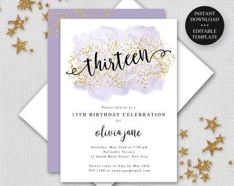 "13th Birthday Editable Invitation, Any Age, 5x7"" or 4x6"" Purple Watercolor Gold Glitter Digital Invitation, Instant Download, jpeg/pdf #006"
