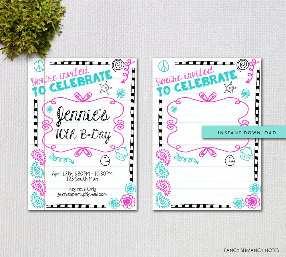 Printable Teen Birthday Invitation Template / Instant Download | Etsy