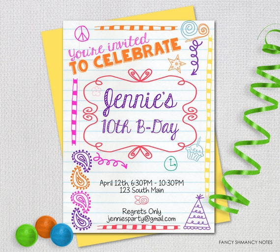 Teen Birthday Invitation Tween Party Doodled Notebook PRINTABLE INVITATION 72513