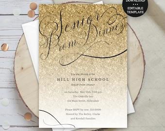 Prom Invitation, Fully Editable Gold Glitter Invitation Template, 5x7 or 4x6,  Print or Text Digital Invitation, Instant Download #1436