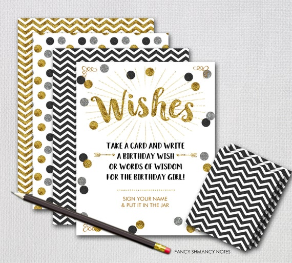 Wish Jar Birthday Black And Gold Glitter INSTANT