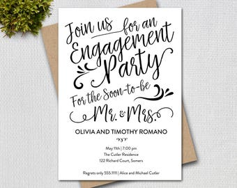 Engagement Party Invitation, Hand Lettered Script Typograpy, Printable Digital Invitation 3120