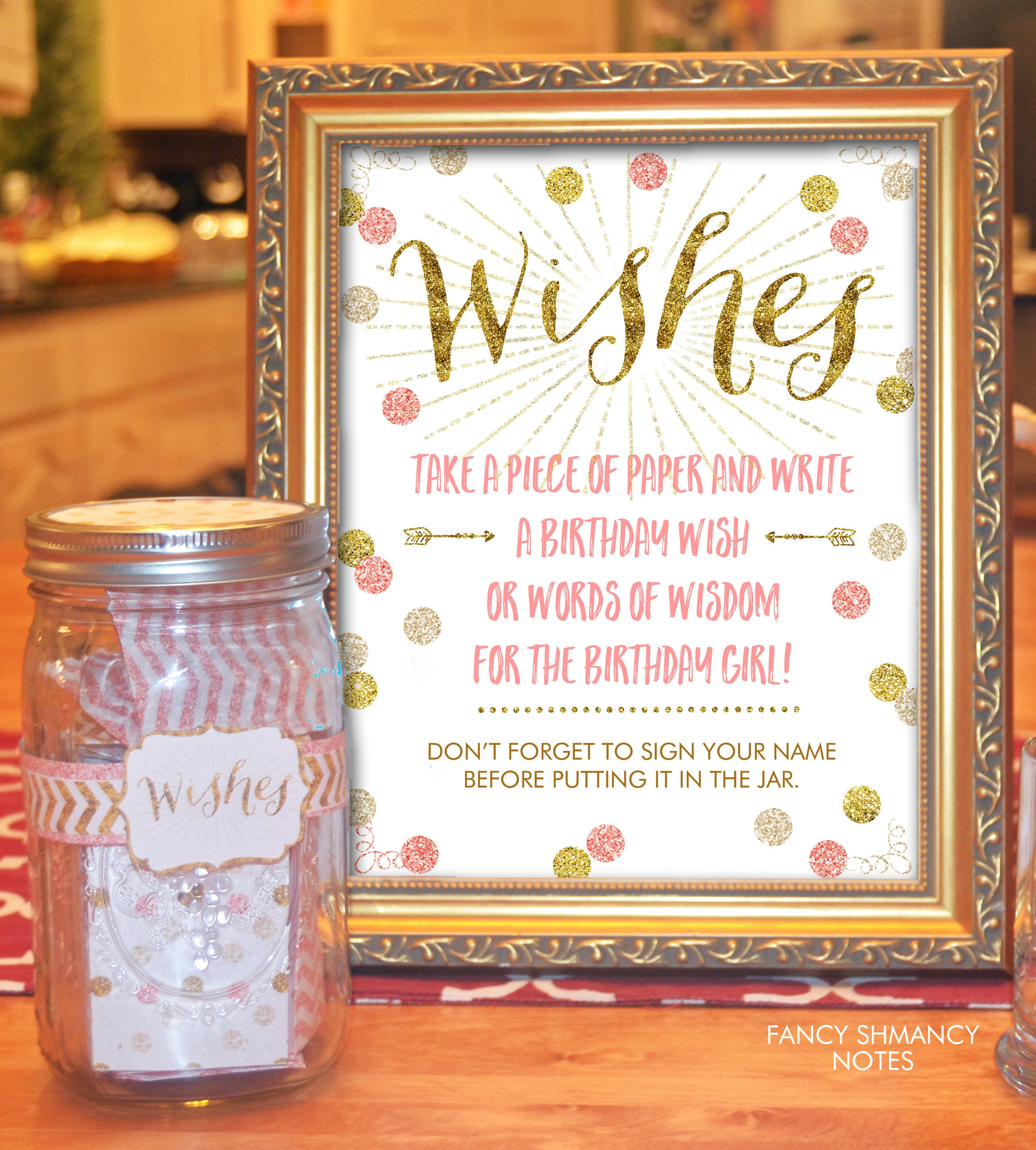 Wish Jar Birthday Pink And Gold Glitter Instant