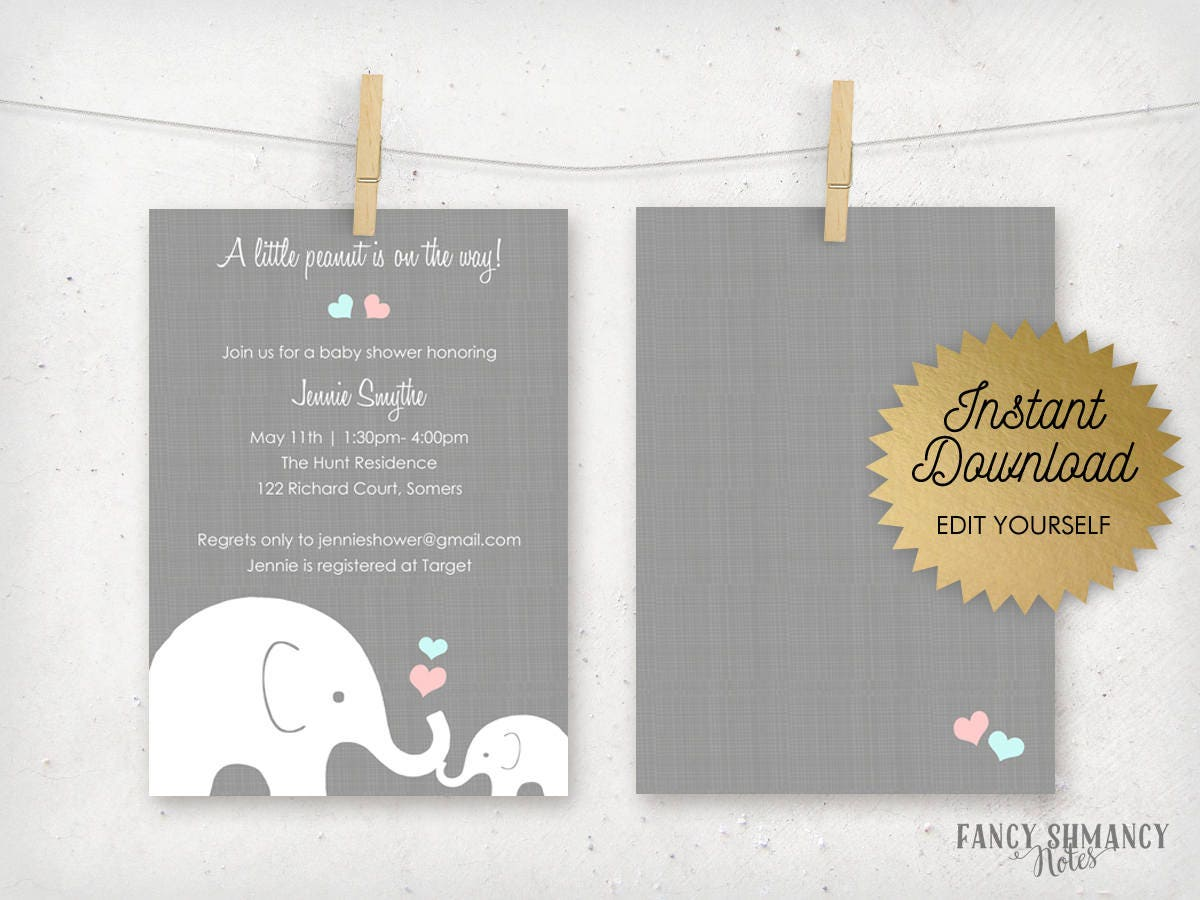 Elephant Baby Shower Editable Invitation Template, Pink and Blue ...