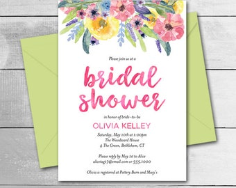 Watercolor Flowers Bridal Shower Invitation, Hand Lettered Calligraphy, Printable Digital Invitation, 7208