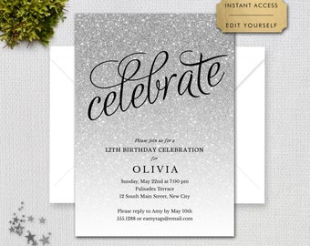 """Silver Glitter """"Celebrate"""" Editable Any Age Birthday Party Invitation, Print or Text Digital Invitation, Instant Download, jpeg or pdf, 2127"""