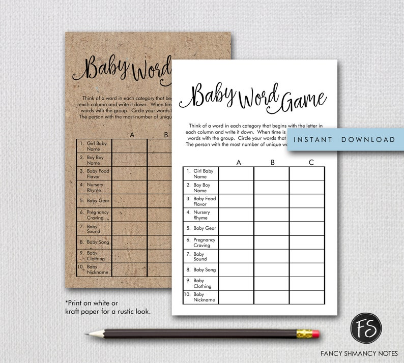 Baby Shower Word Category Game, Fancy Script Gender Neutral Black and White  Printable Shower Game, Instant Download #1234