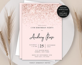 Pink Glitter 13th Birthday Invitation Template, Editable Text, Any Age, Blush Pink, Print/Text Digital Invitation, Instant Download #046