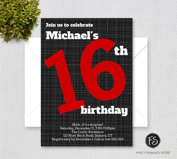 Printable Teen Boy 16th Birthday Invitation Bold Number Black And Red Digital File 4016
