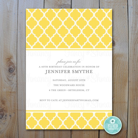 Yellow Quatrefoil Invitation Blank Printable Template Instant