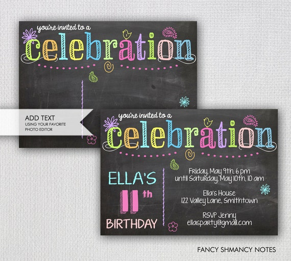 Chalk Letters Printable Party Invitation Chalk And Neon