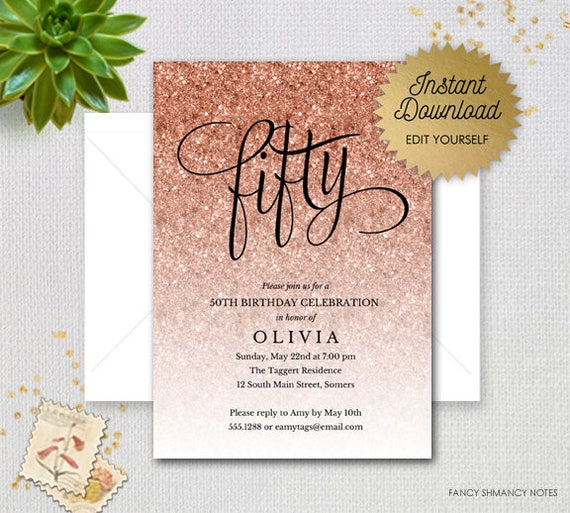 rose gold sparkle glitter editable 50th birthday invitation fifty