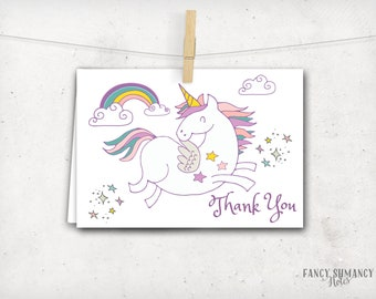 Magical Unicorn Thank You Card, Instant Download, Printable File 8117