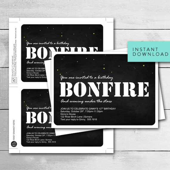 bonfire invitation night under the stars bonfire birthday
