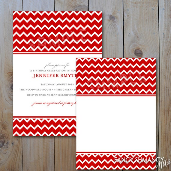 Printable Invitation Template Red Chevron Blank Jpeg Template
