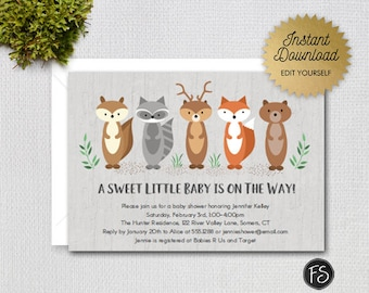 Editable Woodland Animals Baby Shower Invitation, Gender Neutral Sweet Little Baby on the Way,  Instant Download Editable file, 1228