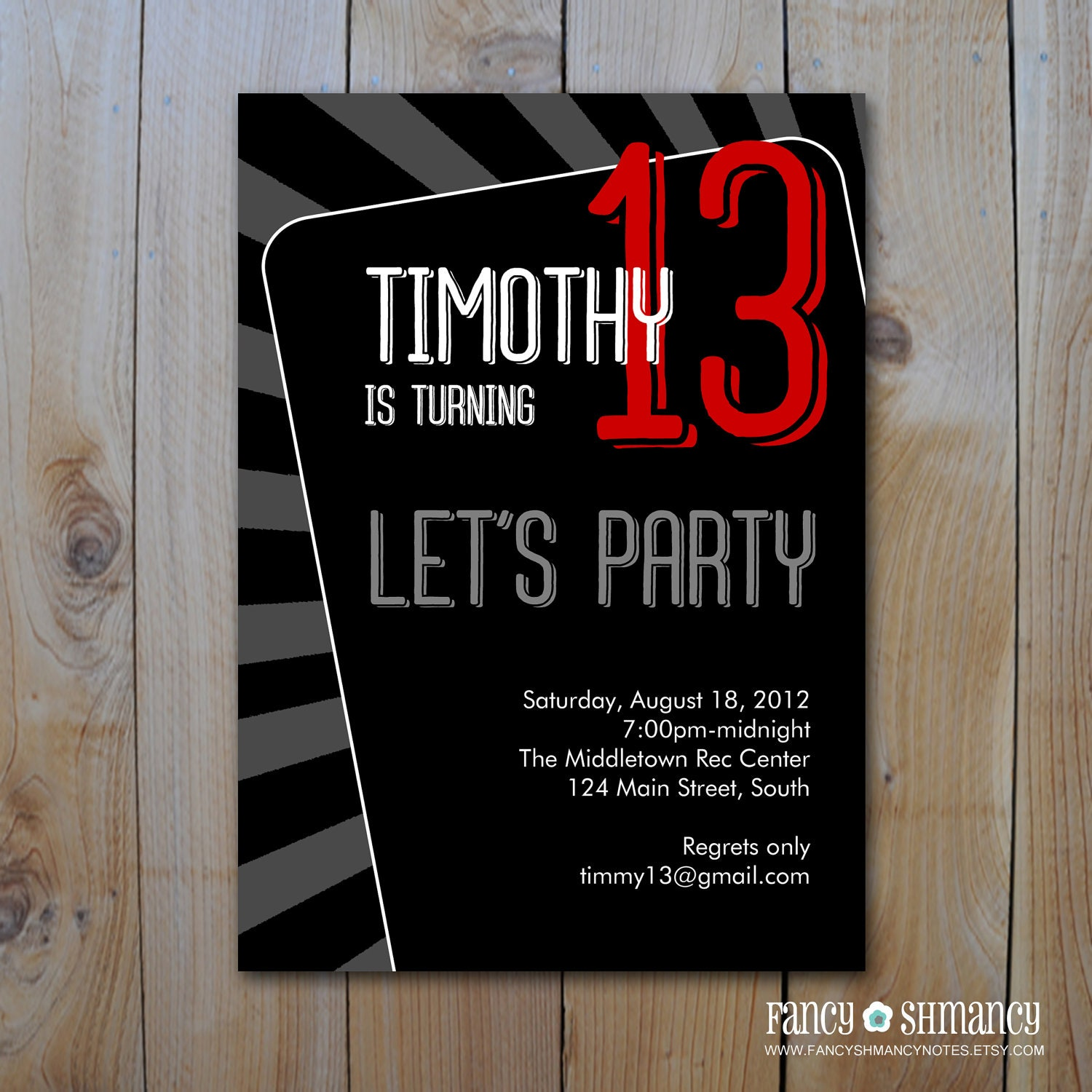Teen Boys Birthday Invitation Lets Party PRINTABLE INVITATION Item 81312b