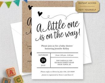 Editable Baby Shower Invitation, Trendy Script Any Color Gender Neutral Printable Digital Invitation, #1234