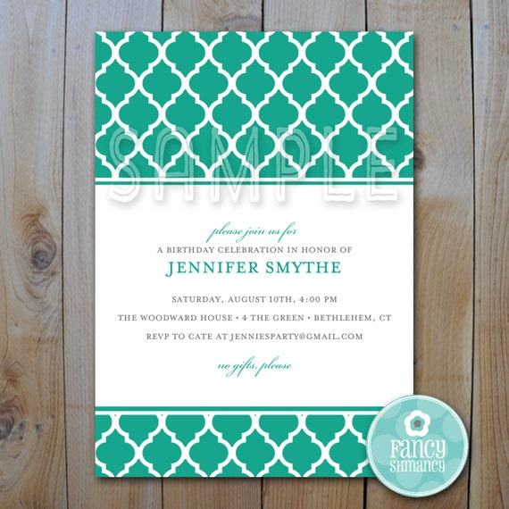 Printable Invitation Template Instant Download Emerald Etsy