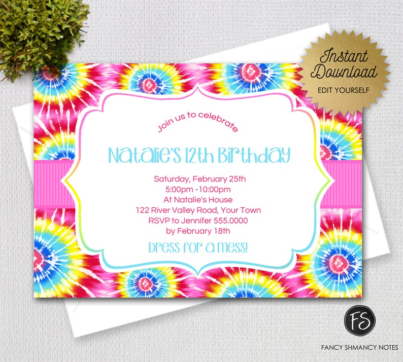 Tie Dye Editable Invitation Template Instant Download Digital PDF 82612