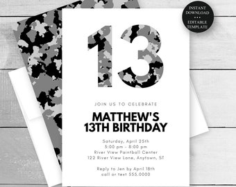 13th Birthday, Any Age, Camo Teen Boy Birthday Invitation, Print/Text Digital Invitation, Instant Download Editable Template, #080