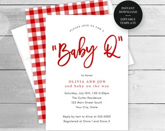 Baby Q, Baby Shower Barbeque Invitation Template, Editable Text and Colors, Gingham Check, Print or Text Digital Invitation, #6200