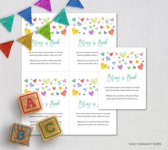 Book Request Card Bring a Book Gold Glitter Script Instant Download Printable Digital File