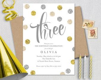 Birthday Invitation / 3rd /Silver Gold Cream Glitter / THREE / PRINTABLE INVITATION /  #183
