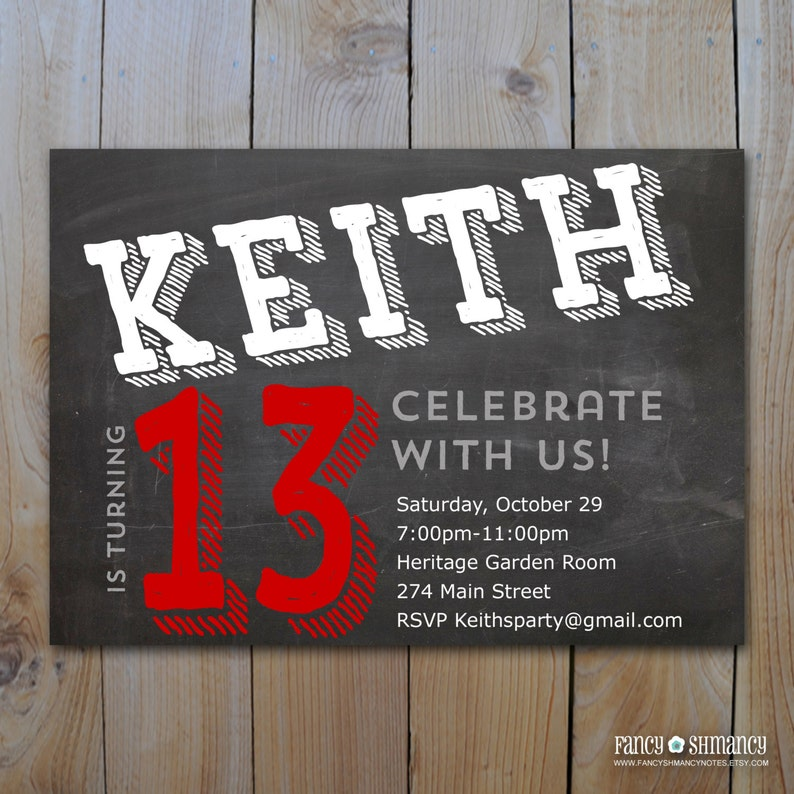Teen Boys Birthday Invitation Chalkboard Design For