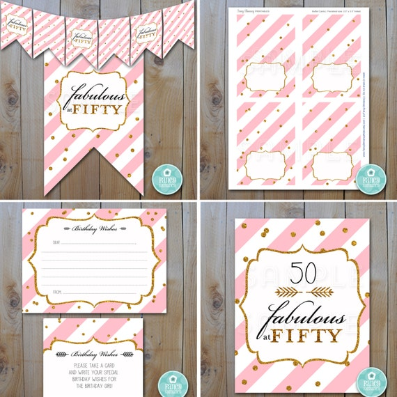 Printable Fabulous At Fifty Party Decor In Pink And Gold Printable Party Set Instant Download Printable Files 12500